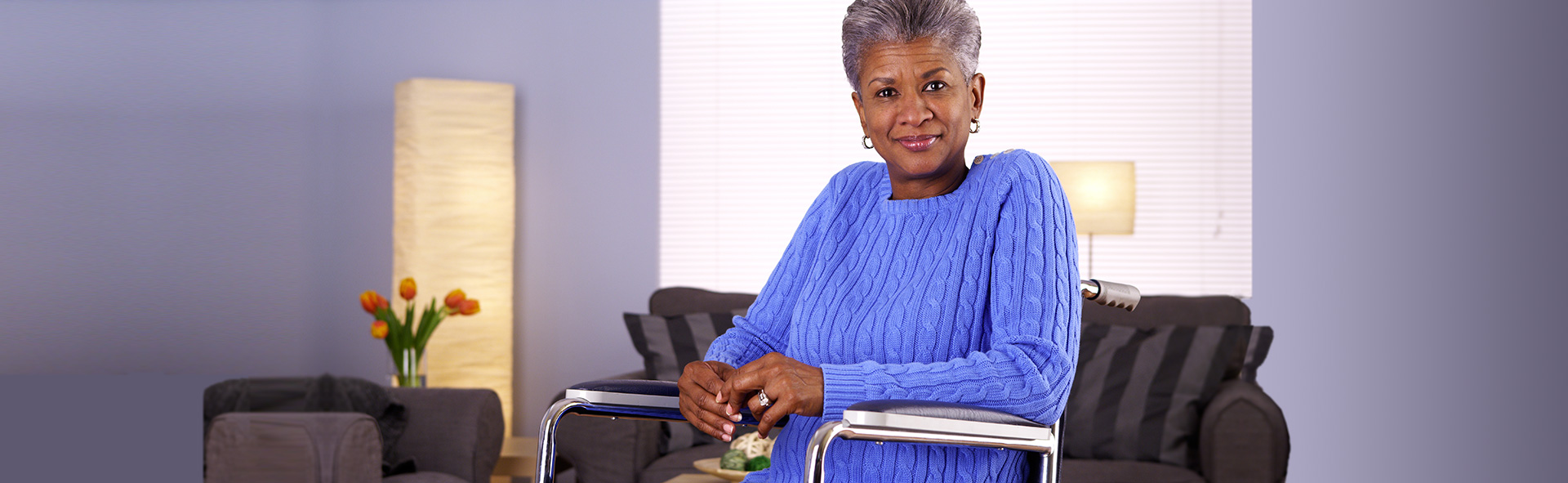 African-American woman in wheelchair